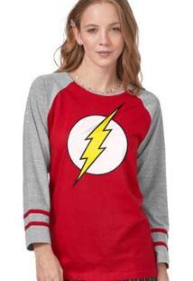 Camiseta Manga Longa Feminina The Flash Logo - Feminino-Vermelho