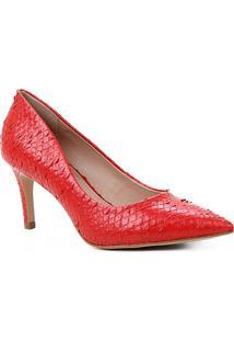 Scarpin Couro Shoestock Salto Médio Cobra - Feminino-Vermelho