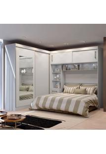 Guarda-Roupa Casal Com Cabeceira E Espelho Sparta Flex 4 Pt Branco