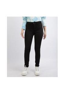 Calça De Sarja Feminina Skinny Energy Jeans Cintura Alta Preta