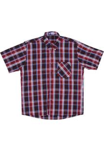 Camisa Masculina Xadrez Manga Curta Rodeo Western - Masculino-Vermelho