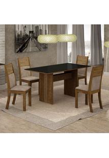 Conjunto De Mesa De Jantar Florença I Com 4 Cadeiras Havaí Suede Preto E Marrom