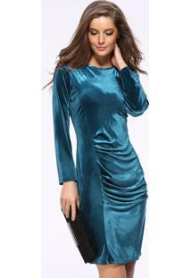 Vestido Tubinho De Veludo Longuete