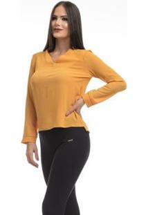 Camisa Clara Arruda Decote V 12049 - Feminino-Mostarda