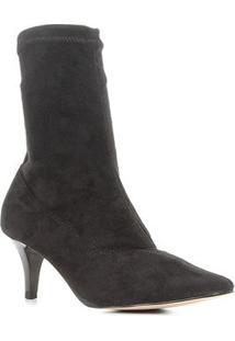 Bota Cano Curto Shoestock Bico Fino Stretch Feminina - Feminino-Preto