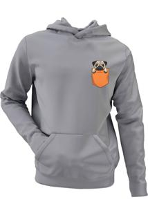 Moletom Criativa Urbana Pug In The Pocket Tumblr Casaco Blusa Cinza - Tricae