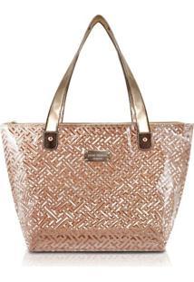 Bolsa Shopper Transparente Jacki Design Diamantes Dourado