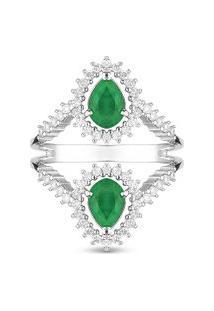 Anel Ouro Branco Esmeraldas E Diamantes
