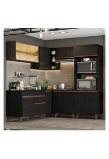 Cozinha Completa De Canto Madesa Reims 402001 Com Armário E Balcáo - Preto Preto