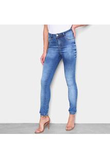 Calça Jeans Skinny Ecxo Cintura Alta Estonada Feminina - Feminino