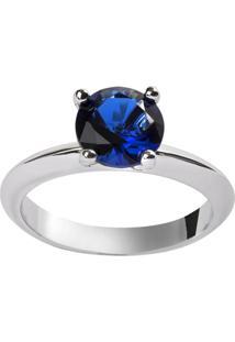 Anel Solitário The Ring Boutique Pedra Cristal Azul Safira Ródio Ouro Branco