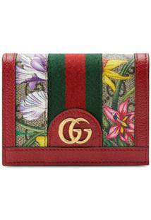 Gucci Carteira Com Estampa Floral - Vermelho