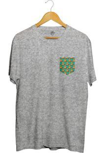 Camiseta Bsc Pizza Poa Pocket Full Print - Masculino-Cinza