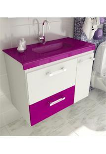 Gabinete Para Banheiro 80 Cm Com 2 Peças Vetro 13 Branco E Violeta Tomdo