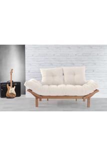 Sofá Cama Solteiro Country Comfort Off White - Acabamento Jatobá Tec.924-023 - 190X80X83 Cm