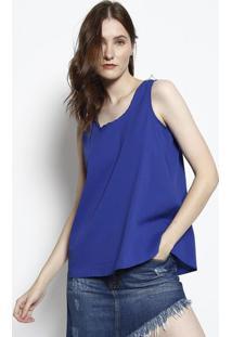 Blusa Lisa Com Pregas- Azul- Intensintens
