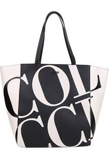 Bolsa Colcci Shopper Maxi Logo Feminina - Feminino-Preto+Branco
