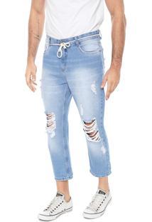 Calça Jeans Hering Slim Cropped Destroyed Azul