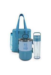 Conjunto De Bolsa Termica Com Pote De Marmita E Garrafa 430 Jacki Design Azul