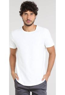 Camiseta Masculina Slim Fit Flamê Manga Curta Gola Careca Off White
