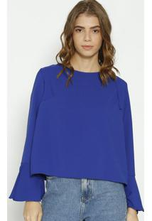 Blusa Texturizada Com Amarração - Azul Escuro- Moisemoisele