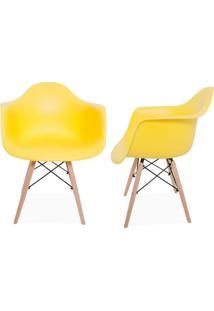 Kit 02 Cadeiras Decorativas Lyam Decor Melbourne Amarelo.