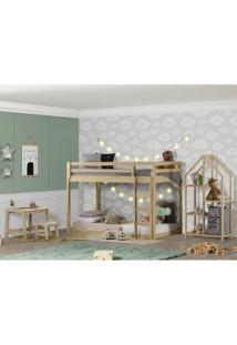 Quarto Infantil Beliche Montessoriano Prime, Estante E Escrivaninha - Casatema