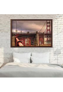 Quadro Love Decor Com Moldura Golden Gate Madeira Escura Grande