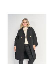 Casaco Alongado Com Bolsos & Botões Curve & Plus Size Preto