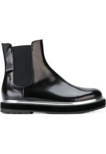 Agl Ankle Boot 'Chelsea' De Couro - Preto