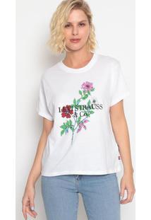 """Camiseta """"Levi Strauss & Co.""""- Branca & Verdelevis"""