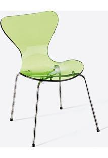 Cadeira Jacobsen Acrílico - Cromada Verde Acrílico