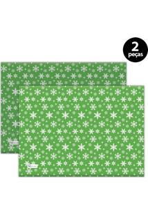 Jogo Americano Mdecore Natal Flocos De Neve 40X28 Cm Verde 2Pçs