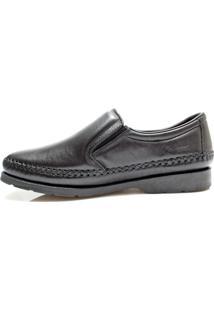 Sapato Couro Pé Firme Pespontos Preto