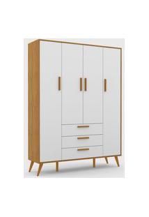 Roupeiro 4 Portas Retrô Freijó / Branco Soft / Eco Wood Matic Móveis