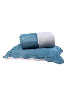 Kit Cobre Leito Casal Dupla Face + Porta Travesseiros Bouti Rolinho Azul Cristal - Bene Casa