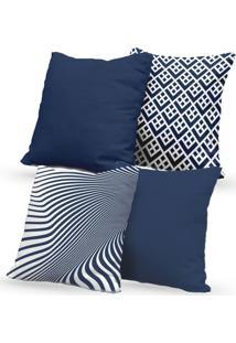 Kit 4 Capas De Almofadas Decorativas Own Azul Estampadas E Lisas 45X45 - Somente Capa