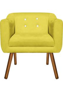 Poltrona Decorativa Julia Suede Amarelo Com Strass - D'Rossi