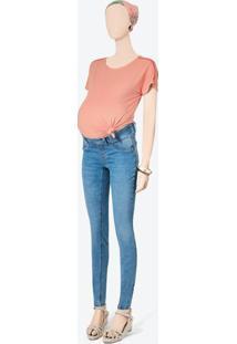 Calça Azul Claro Maternidade Flex Jeans Feminina
