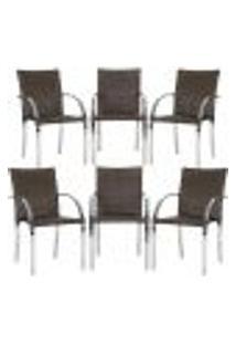 Cadeiras 6Un Para Area Varanda Fibra Sintetica Sala Cozinha Jardim Sacada Madri - Pedra Ferro