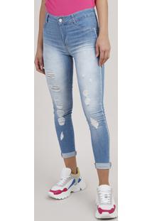 Calça Jeans Feminina Sawary Cropped Push Up Destroyed Cintura Alta Azul Claro