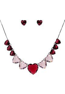 Conjunto Infine Colar E Brincos Corações Vermelho Rubi E Rosa - Tricae
