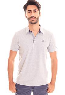 Camiseta Polo Convicto Logo Bordado Cinza Claro