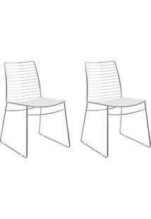 Kit 2 Cadeiras 1712 Branco/Cromado - Carraro Móveis
