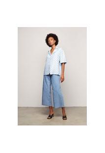 Camisa Feminina Vichy Em Tecido De Viscose - Azul