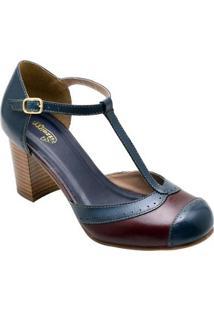Sandália Retro Com Salto Sapatofran De Couro Confortável Feminina - Feminino-Azul