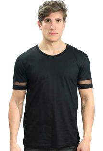 Camiseta Klauk Manga Transparente Preto