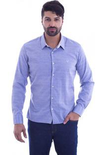Camisa Slim Fit Live Luxor Azul Jeans 2112-25 - Gg
