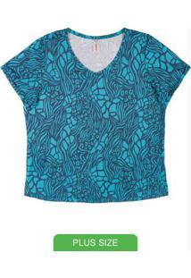 Blusa Com Estampa E Decote V Azul
