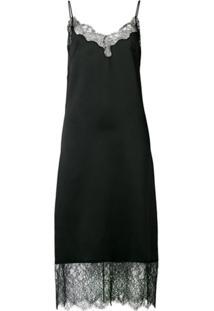 Valentino Slip Dress Com Acabamento Em Renda - Preto